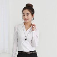2013 summer all-match long-sleeve shirt female lady white blue slim waist V-neck blouse paillette plaid women's clothing za 806