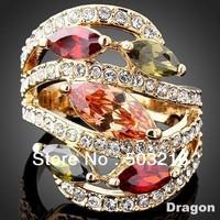 High Quality 18 K Gold Plated Zircon Stone Imitation Diamond Crystal Rings Jewelry
