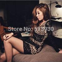FREE SHIPPING DROP SHIPPING NEW FASHION sexy leopard print lace slim hip one-piece dress GW005