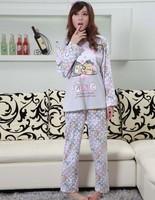 Spring and autumn sleepwear female 100% cotton long-sleeve set cartoon dot big ears rascal rabbit lounge