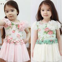 2013 New summer girls dress,nice rose lace dress,child dress, Short sleeve T-shirt,leisure children suit Retail