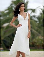 Listen ! Smelling... Yesterday Once M......A-line V-neck Asymmetrical Tea-length Chiffon Wedding Dress