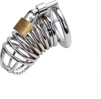 Free Shipping Male Stainless Steel Cock Penis Cage with Ring & Padlock Dildo Ring Cage Penis Sleeve M200