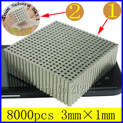 8000pcs 3mm x 1mm N35 Circular Disc Rare Earth Neodymium Magnet For Crafts Arts Models Making Free 4mm 216 Sphere Magnetic Balls(China (Mainland))