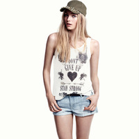 Free shipping richcoco Don't Give Up letter printing low round neck sleeveless garment T-shirt