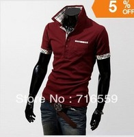 Free Shipping Korean men's short-sleeved T-shirt Slim lapel cotton solid color