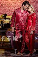 Free Shipping Silk Spring Autumn Couple Long-sleeved Pajamas Lovers Homewear Sleepwears