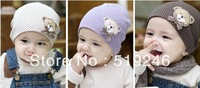 Free Shipping 2pcs/1 lots 2013  Baby Children Autumn Winter Cartoon Lovely Bear Cotton Warm  Baby Girls Boys Hats Unisex Beanie