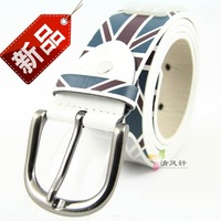 8 National flag pattern print male pin buckle strap women's casual belt m word flag fashion vintage belt