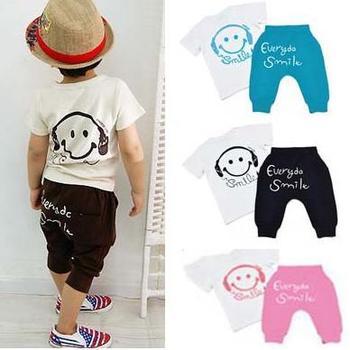 5sets/lot 2013 summer children smile face suit short sleeve t-shirt + harem pant clothing set TZ0081