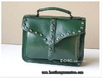 Medium vintage leather messenger bag with studs