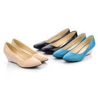 Customize women's shoes nude color beige blue wedges high-heels shoes