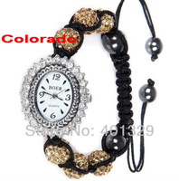 Hot!!!  Diamante Polymer Clay Disco Balls Fashion Shamballa Bracelet Watch Wholesale Gift Battery