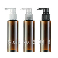 Free shipping   100ml(R24)  brown spiral lotion pump bottle /shampoo small bottle shower gel packaging container 50pc/lot