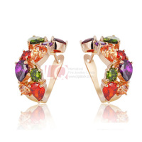 LQ Fashion Korea Style Earrings Luxurious Colorful Crystal Earrings 18K Gold Plated Set High Quality Austrian Zircon