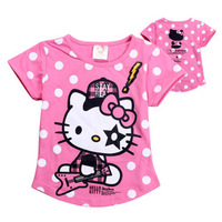 Free shipping New girl T Shirt bear Kids Children Tops tees Summer Wear Short Sleeve Hello kitty Children clothes