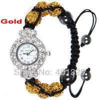 Factory Wholesale! Fashion Watch Jewelery 6pcs Gold Diamante Shamballa Beads Shamballa Bracelet Watch, gift battery