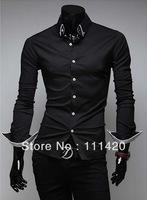 Fashion Striped Lining Long Sleeve Men Dress Shirt CPAM Free Shipping