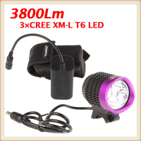 Waterproof TrustFire 3X CREE T6 LED Bulbs 3800 Lumen Bicycle Front Light With 1PC 4400mAh Rechargeable Battery Pack + Charger