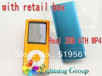 "Free shipping Fashion 4th Gen 1.8""  MP4 Player With Real 2GB, HOT FM e-book voice recorder music player with retail box 100PCS"