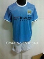 Top quality 2014-2013 man city Soccer Jersey kit man city blue soccer uniform 100% emboidery logo 10set/lot free EMS/DHL