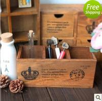 Zakka solid wood vintage retro finishing pen desktop storage box jewelry box 3 plaid