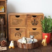 Wood vintage retro finishing desktop storage box jewelry box 4 drawer zakka