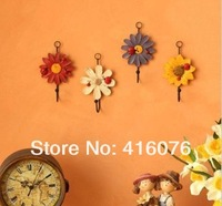 Free Shipping! 8pcs/lot Resin Flower Cloth Hook Wall Hanger Iron Hook Rural Style Home Decoration W1005