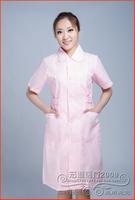 FreeShipping White pink summer short-sleeve nurse clothing short-sleeve work wear beauty services white coat DC010