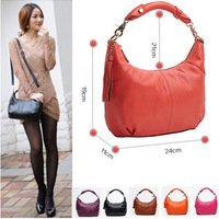 NEW 2014 Fashion Genuine Leather Bag Cowhide Women's Tassel Bag Shoulder Bag Vintage Handbag 8 Colors Gift 25.5CM*24CM*6CM