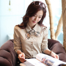 Korean Design Lady Fashion Business Blouse Size S-2XL Good Career Clothing 2013 NEW Elegant Women OL Dress Shirts Shipping D1231(China (Mainland))