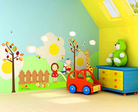 Cartoon children DIY living room wall decal art PVC removable wall stickers eco-friendly wallpaper  915