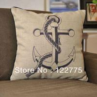 45x45cm Nautical Themed Sea Anchor Linen Throw Pillow Case Cushion Cover Pillow Sham