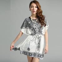 Short Sleeve Novelty Floral Ruffles Exotic  Big Plus Size stripes Mini Dress B30 Dress Geometry  Print Bodycon