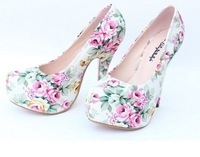 Free Shipping New Style women Pumps High-Heeled Shoes Sexy Ultra High Heels Wedding Flower Shoes plus size 34-41