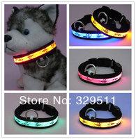 DHL &FEDEX Free Shipping 50 PCS/lot High Quality Nylon Webbing LED Glowing Flashing Dog Collar / Pet Collar Fluorescence Webbing