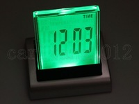 Free Shipping New 7 Color Change LED Digital LCD Desktop Design Alarm Clock Thermometer