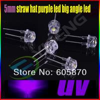5mm straw hat purple led big angle led Free Shipping (100pcs) 5mm UV LED for 100 free resistors 5mm strawhat purple/uv led
