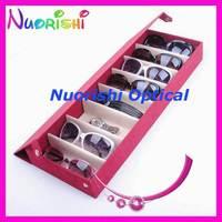 free shipping  A626-8S  nice suded sunglass case   eyeglass eyewear display case   holding 8 pcs of sunglasses
