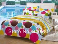 Free Shipping cotton  color dots printing 3pcs 4pc child size bedding set duvet cover set teenage twin size set