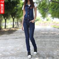 free shipping  2013 fashion spring Korean version dark blue women jumpsuit jeans 1306