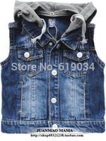 free shipping 2014 Children's clothing child denim vest male female child with a hood denim vest cool denim baby outerwear