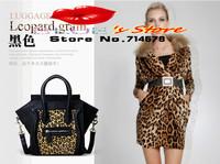 FREE SHIPPING 2014 new leather women shoulder bag leopard smiley bag fashion designer leather ladies messenger shoulder bag