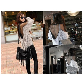 New Sexy Lady Women Shirt Pullover Jumper See-thru Gauze O-Neck Patchwork Mesh Batwing Tops Shirts , Free Shipping