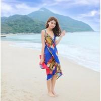 2013 New Saress Bikini Wrap Dress Women's Sarong Swim cover-ups Cross Beach dress Flower