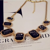 Fashion Shinny Golden Vintage Luxury Exaggerated Square Marilyn Gem Crystal Figaro Chain  Drop Choker Necklace Chains Pendants