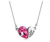 (Min. mix order is $10) new arrive fashion crystal love heart pendant necklace  Free Shipping HeHuanXL222