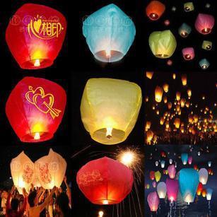 Wholesale 10pcs/lot Heart Shaped Kongming Lantern Chinese Sky flying Lantern wishing light Kongming Balloon free shipping