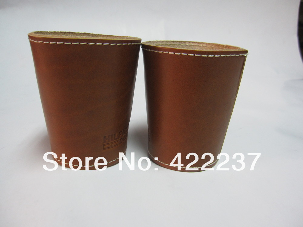 2012 newly designed genuine leather dice cup with 5 dices(China (Mainland))