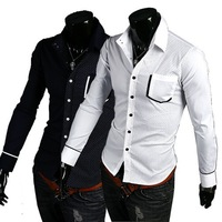 Free Shipping 2013 New stitching casual fashion long sleeve men's shirts two-color US Size:XS,S,M,L   0124